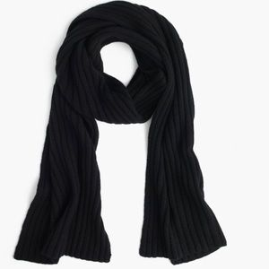 NWT J. Crew Ribbed Cashmere Scarf in Black
